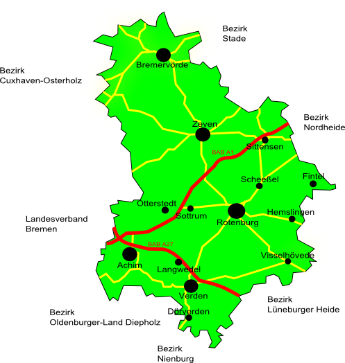 Karte des Bezirkes Aller-Oste e.V.